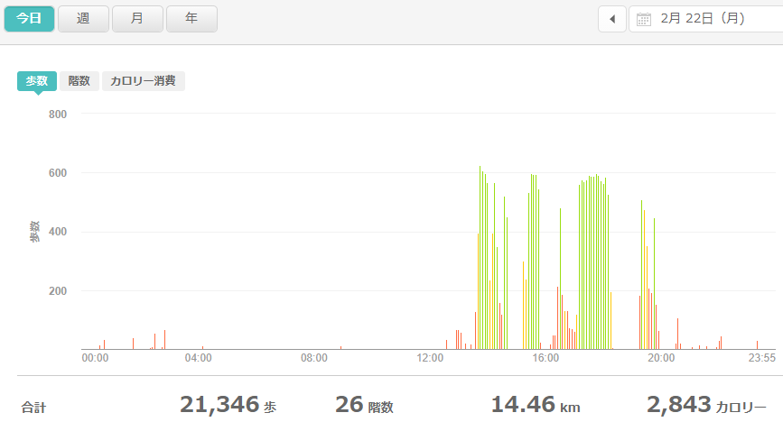 fitbitログより 運動データ2021年2月24日