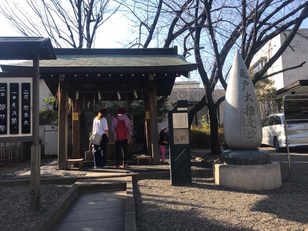 亀戸香取神社の手水舎(てみずや)と大根の碑
