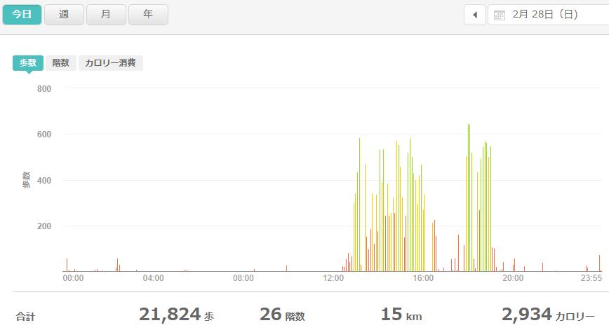 fitbitログより 運動データ2021年2月28日