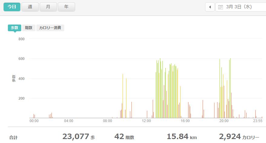 fitbitログより 運動データ2021年3月3日