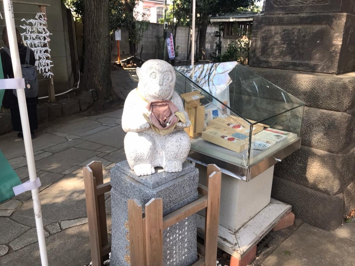 戸越八幡神社 石像(猿)