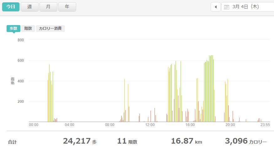 fitbitログより 運動データ2021年3月4日