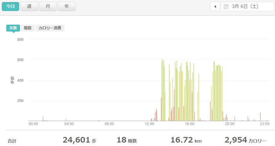 fitbitログより 運動データ2021年3月6日