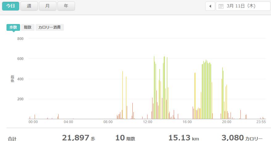 fitbitログより 運動データ2021年3月11日