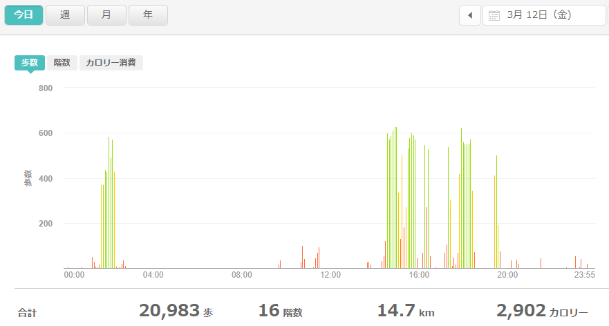 fitbitログより 運動データ2021年3月12日