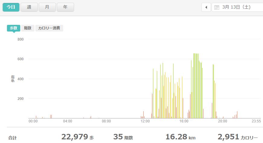 fitbitログより 運動データ2021年3月13日