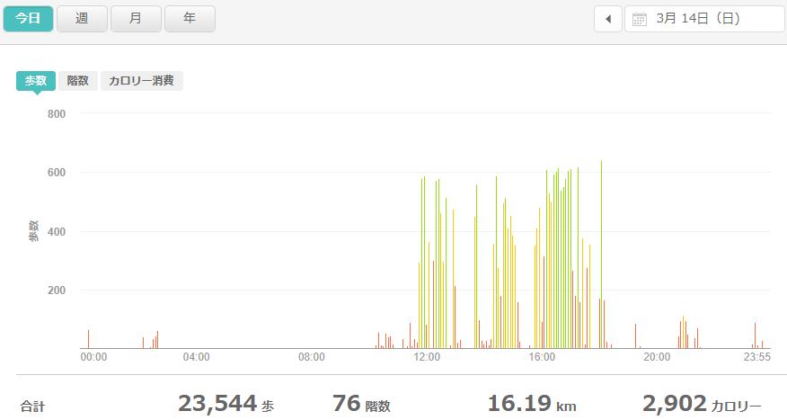 fitbitログより 運動データ2021年3月14日