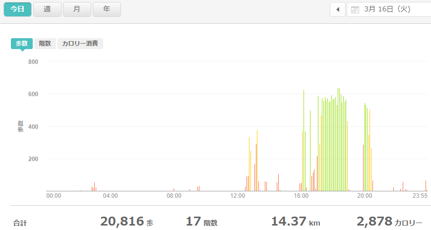 fitbitログより 運動データ2021年3月16日
