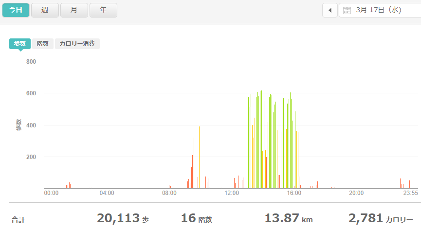 fitbitログより 運動データ2021年3月17日