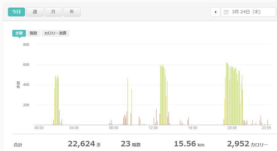 fitbitログより 運動データ2021年3月24日