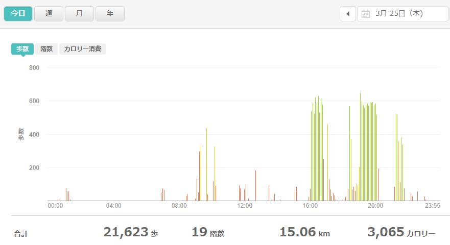 fitbitログより 運動データ2021年3月25日