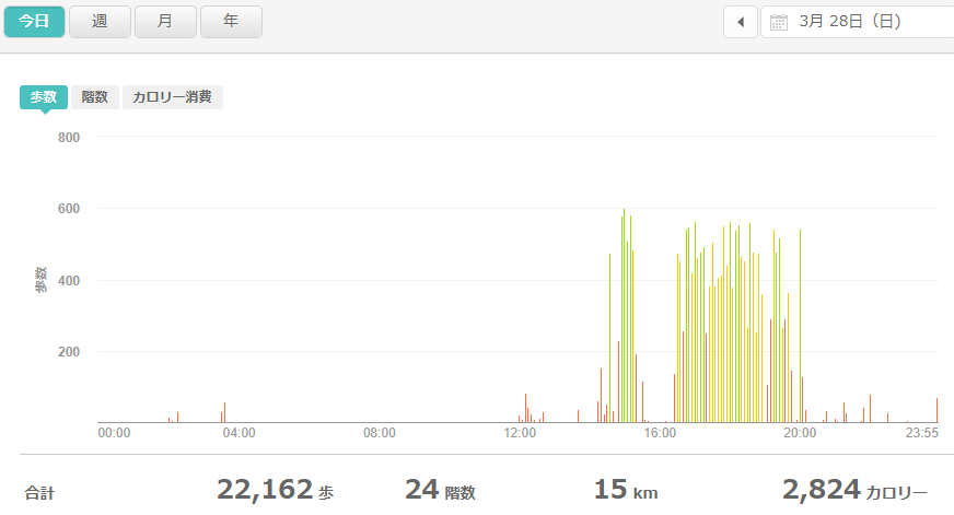 fitbitログより 運動データ2021年3月28日