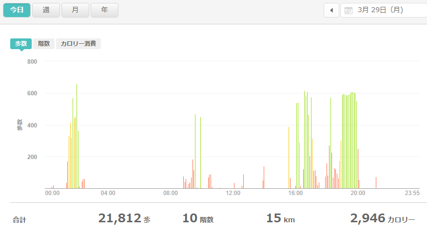 fitbitログより 運動データ2021年3月29日