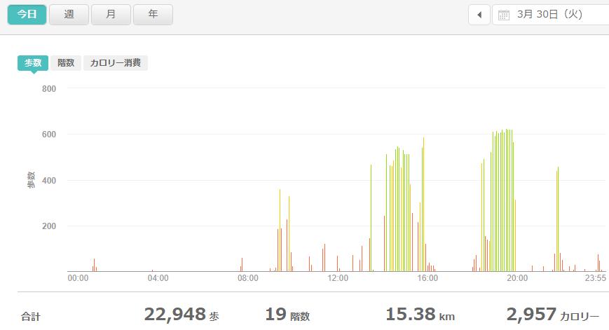 fitbitログより 運動データ2021年3月30日