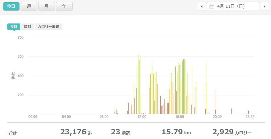 fitbitログより 運動データ2021年4月11日