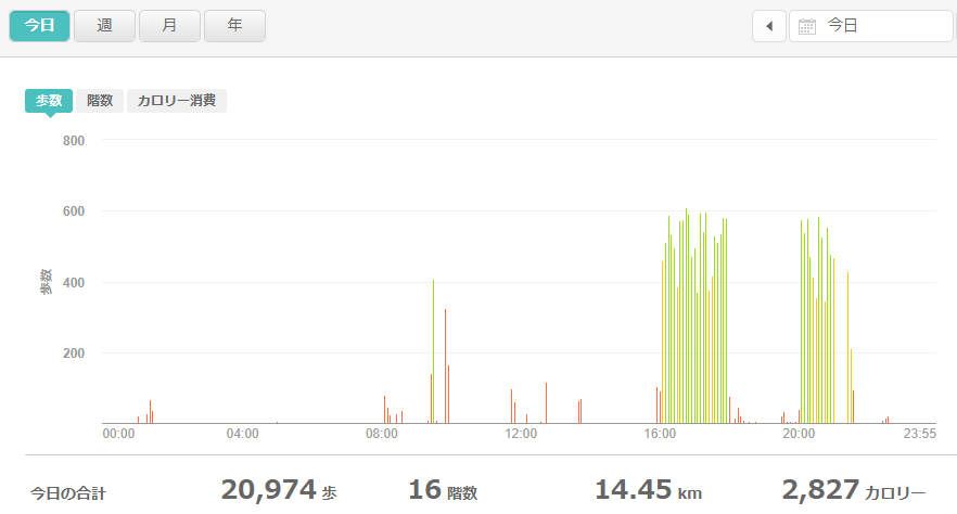 fitbitログより 運動データ2021年4月16日