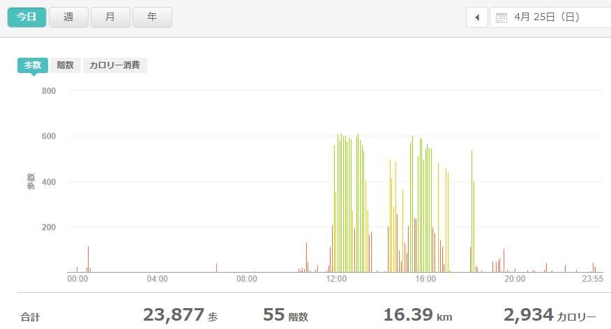 fitbitログより 運動データ2021年4月25日