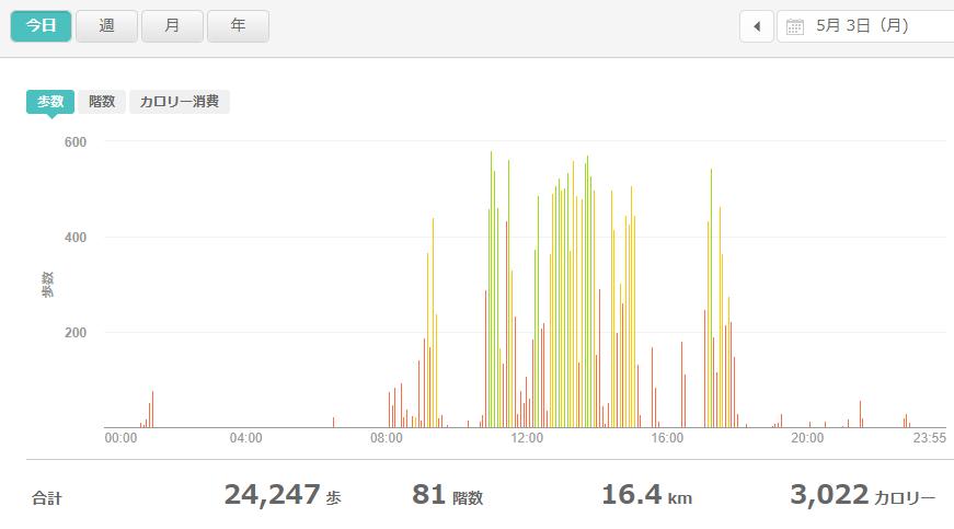 fitbitログより 運動データ2021年5月3日