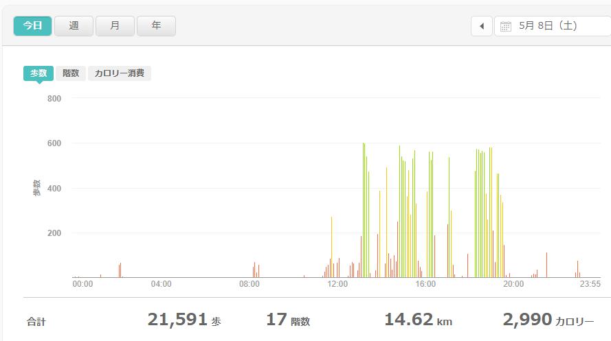 fitbitログより 運動データ2021年5月8日
