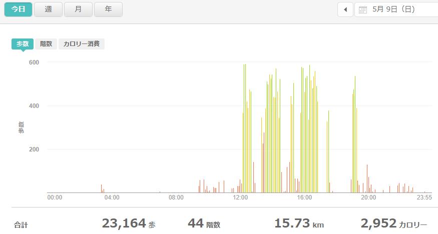 fitbitログより 運動データ2021年5月9日