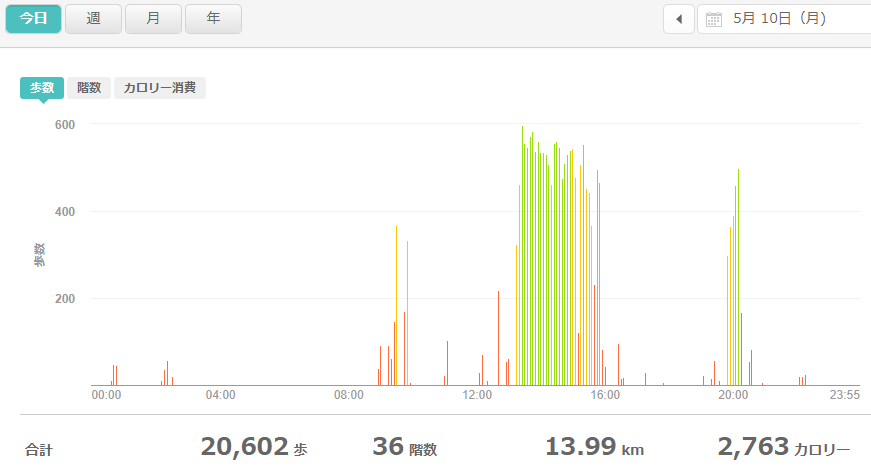 fitbitログより 運動データ2021年5月10日