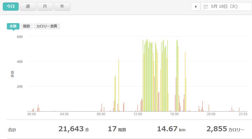 fitbitログより 運動データ2021年5月18日
