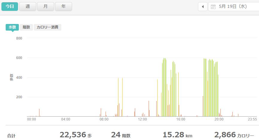 fitbitログより 運動データ2021年5月19日