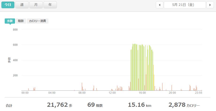 fitbitログより 運動データ2021年5月21日