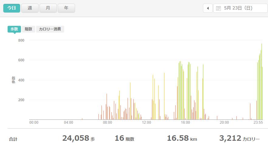 fitbitログより 運動データ2021年5月23日