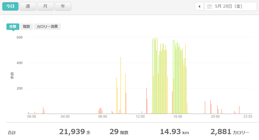 fitbitログより 運動データ2021年5月28日
