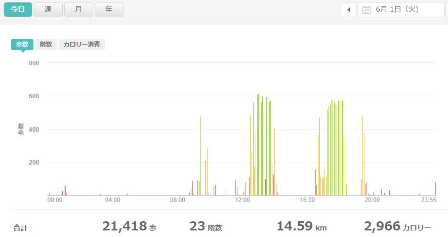 fitbitログより 運動データ2021年6月1日