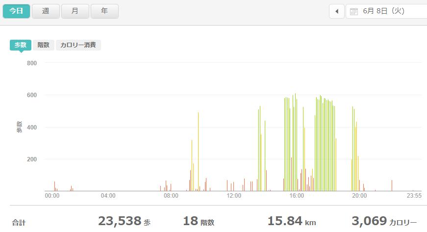 fitbitログより 運動データ2021年6月8日
