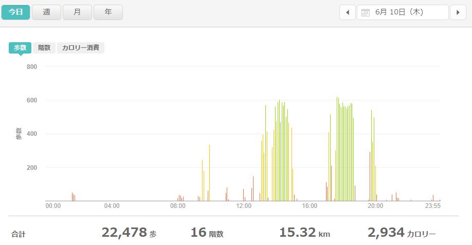 fitbitログより 運動データ2021年6月10日
