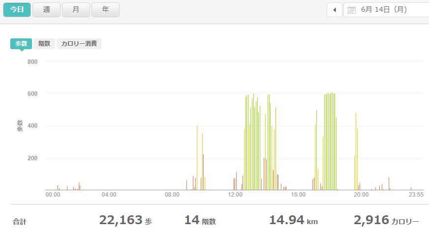 fitbitログより 運動データ2021年6月14日