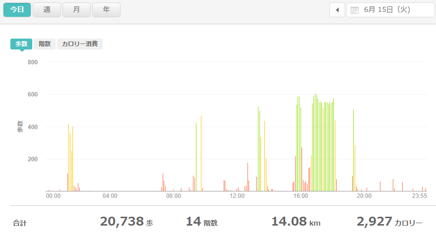 fitbitログより 運動データ2021年6月15日