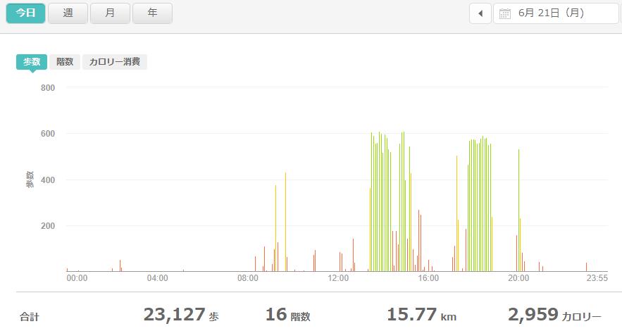 fitbitログより 運動データ2021年6月21日