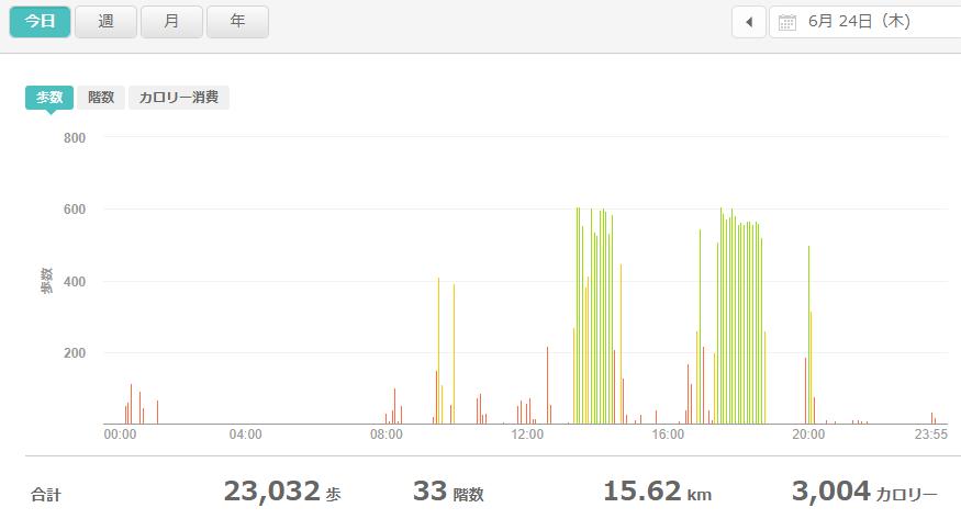 fitbitログより 運動データ2021年6月24日