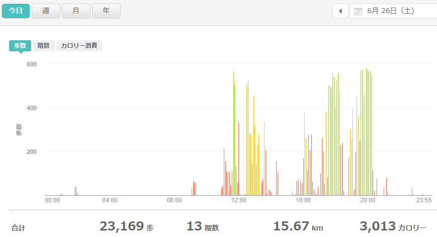 fitbitログより 運動データ2021年6月26日