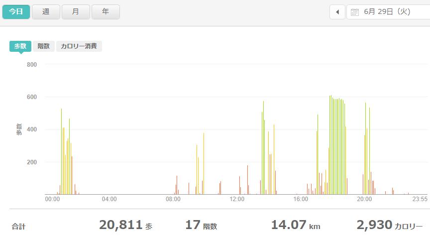 fitbitログより 運動データ2021年6月29日