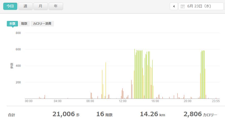 fitbitログより 運動データ2021年6月23日