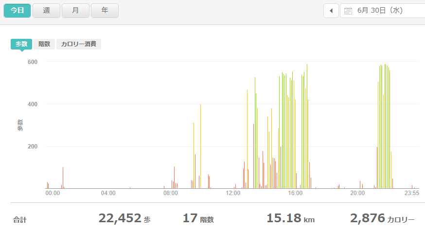 fitbitログより 運動データ2021年6月30日