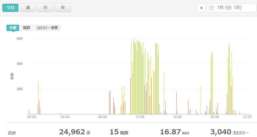fitbitログより 運動データ2021年7月5日