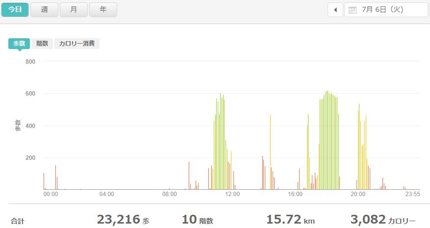 fitbitログより 運動データ2021年7月6日