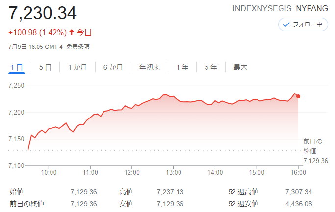 FANG+index2021年7月9日