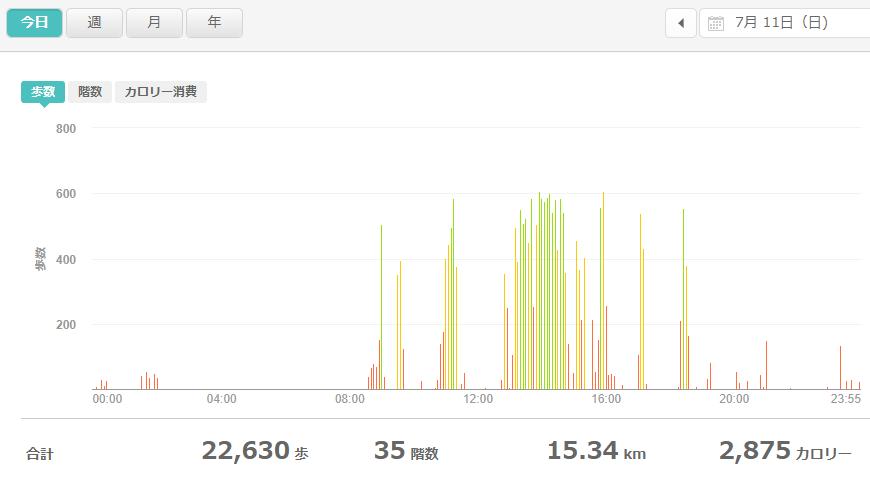 fitbitログより 運動データ2021年7月11日