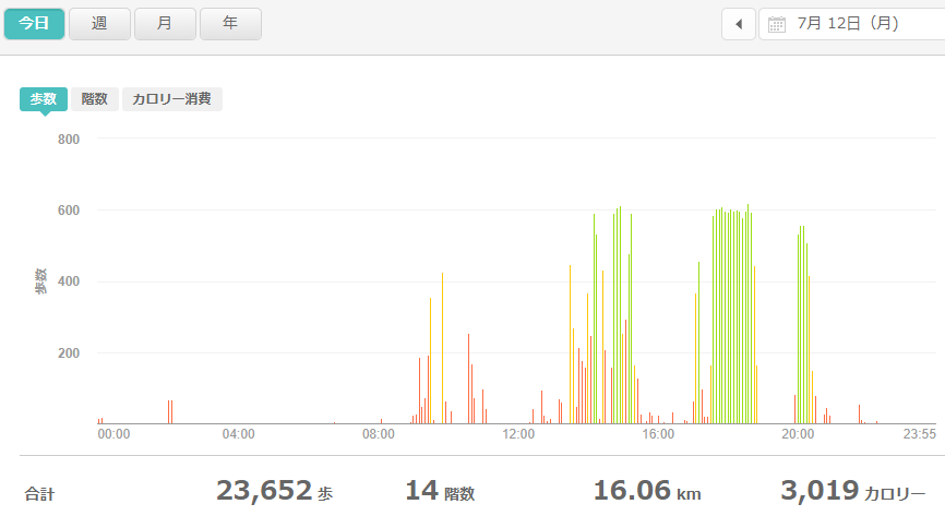 fitbitログより 運動データ2021年7月12日