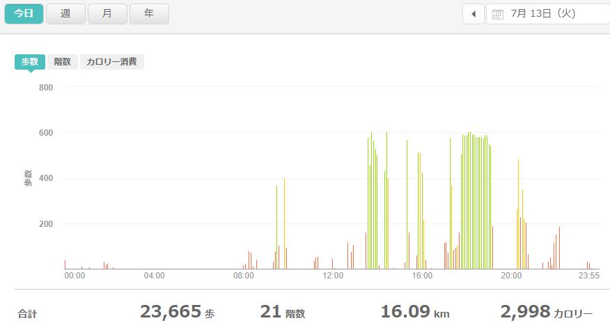 fitbitログより 運動データ2021年7月13日