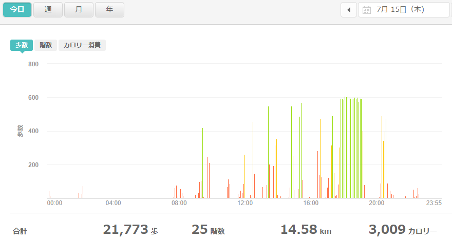 fitbitログより 運動データ2021年7月15日