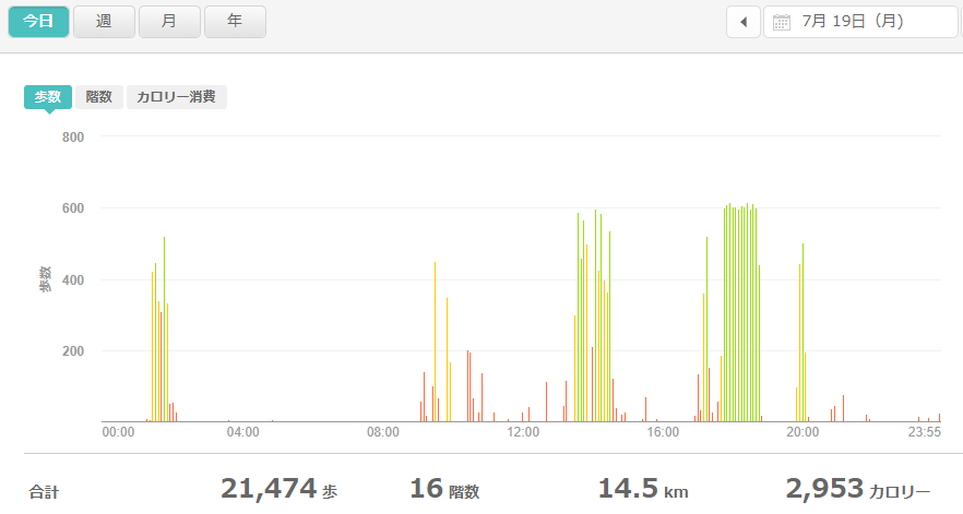 fitbitログより 運動データ2021年7月19日