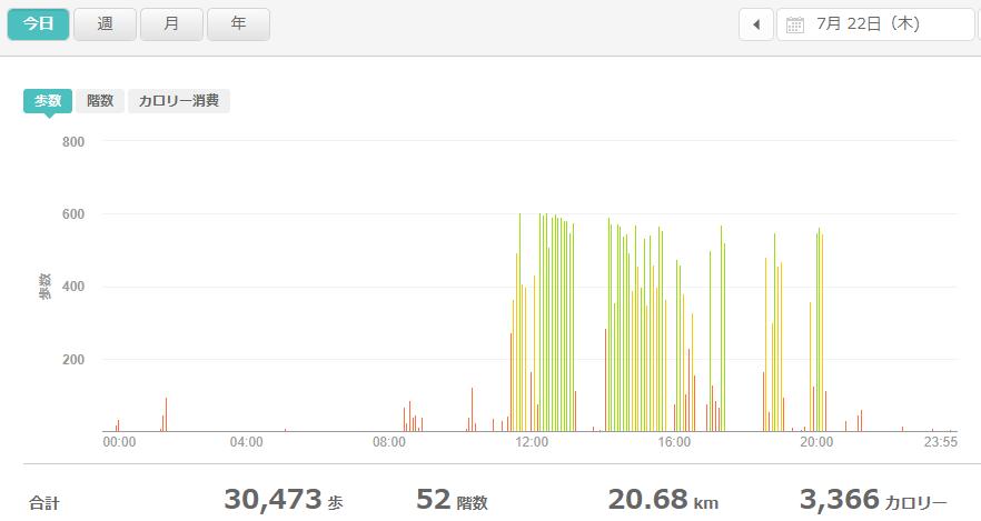 fitbitログより 運動データ2021年7月22日